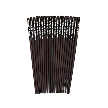 10 Pairs Vietnamese Natural Wood Chopsticks With Mother Of Pearl Inlay