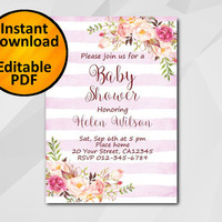 Editable Baby Shower Invitation, Watercolor Pink stripe Invitation, Instant Download diy, etsy Baby Shower invitation XB320fs-1
