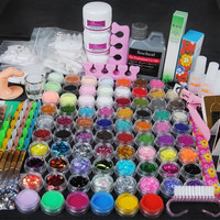 78 Acrylic Powder Glitter Ball Liquid Stripe Velvet Nail Art Set = 5658939073