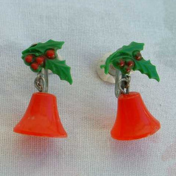 Red Christmas Bell Celluloid Dangle Earrings Screw Style Vintage Jewelry
