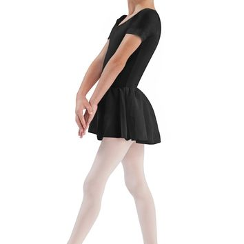 Bloch Girl's TIffany Short Sleeve Leotard w/ Siffon Skirt in Black Or Pink