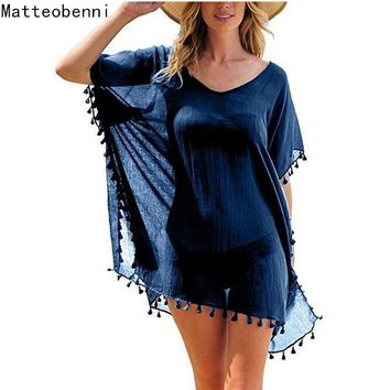 Chiffon tassel Tunics Beach Wear Women Swimsuit Cover up Lady Swimwear Beach Cover up Beachwear Pareo Beach Dress Saida de Praia