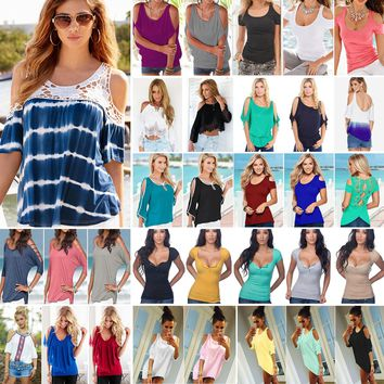 Women Cold Shoulder T Shirt Blouse Ladies Summer Casual Loose Tee Top Plus Size   1
