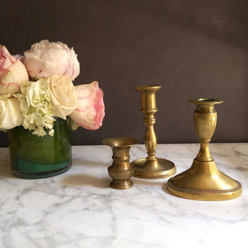 Set of Vintage Brass Candlesticks/ Mismatched Brass Candlesticks/ Brass Candlestick Lot/ Brass Candleholders