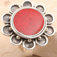 Flawless 925 Sterling Silver Red Coral Ring