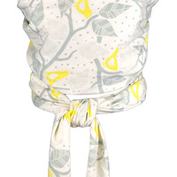 Organic Cotton Baby Wrap Carrier- Grey Branches & Yellow Birds Pattern
