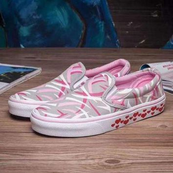 VLXZRBC VANS Slip-On Canvas Shoes Hearts Pattern Flats Sneakers Sport Shoes