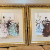Vintage French Paris Ladies Victorian Fashion Scenes Giclee Prints Pair Ornate Gold Solid Wood Frames French Cottage Decor Elegant Home Wall