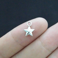 50pcs 8*11mm five point star charm antique silver tone diy jewelry making