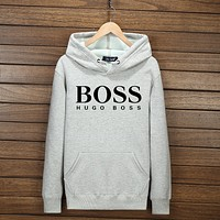 BOSS Hooded Zipper Cardigan Sweatshirt Jacket Coat Windbreaker Sportswear F-YSSA-Z Gray