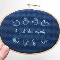 Blue Myself cross stitch -- inspired funny, simple cross stitch, minimalist with blue hands