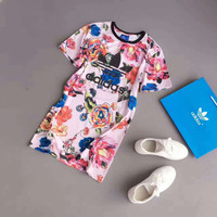 adidas Originals Big Floral Print Short sleeve Dress