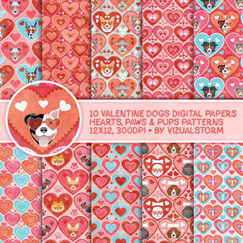 Valentine Dog Digital Paper Romantic Hearts Paw Prints Dogs Pet Valentines Day Backgrounds Digital Valentine Scrapbook Paper Pink Dog Papers