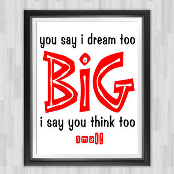 "Dream Big Wall Art, 8"" x 10"", Black and White Typography Print and Motivational Quote for Home Or Office Decor"