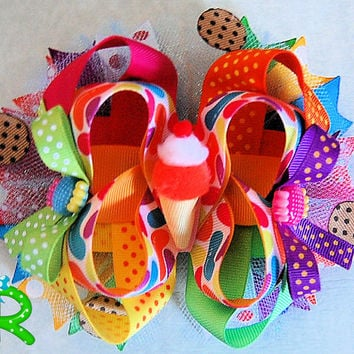 Ice cream Hair Bow , candy layered bow , Sweet Hair Bow , boutique hair bow