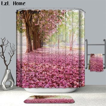 LzL Home Flower Waterproof Shower Curtain Polyester Fabric Bath Bathing Bathroom Curtains With 12 Hooks For Home Decorations