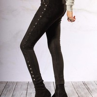 Ride On Studded Faux Suede Trousers