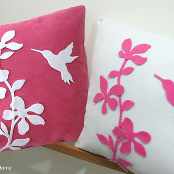 2 Pieces Set. Summer Blossom Humming Bird Fuchsia And White Contemporary Floral Pillow Covers. Set Of Two. Pick Your Color