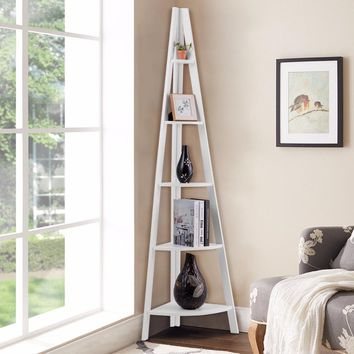 Giantex 5 Tier Corner Ladder Shelf Floor Stand Shelves Bookshelf Display Bookcase Home Furniture HW60327WH