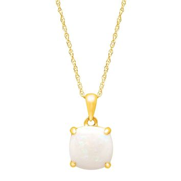 """1 1/2 ct Cushion-Cut Natural Opal Pendant Necklace in 14k Yellow Gold 18"""""""