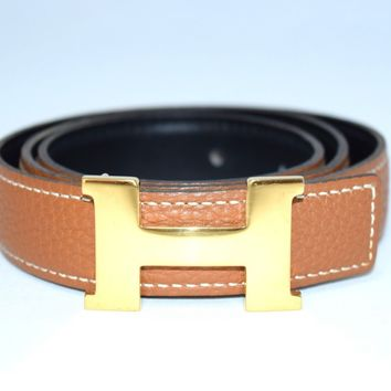 HERMES Constance H Buckle Belt Leather Sz 72 Brown Black Gold tone Women's YA34