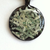Money necklace pendant charm made from Fed shreds. Very cool and original pendant!