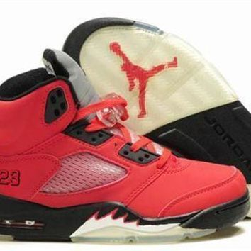 Hot Air Jordan 5 Retro Women Shoes Orange Black