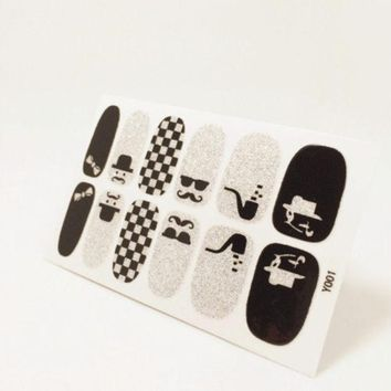 1 Sheet Art Nail Sticker Adhesive Water Transfer Foils Nail Tools Decorations Full Cover  Decals Waterproof