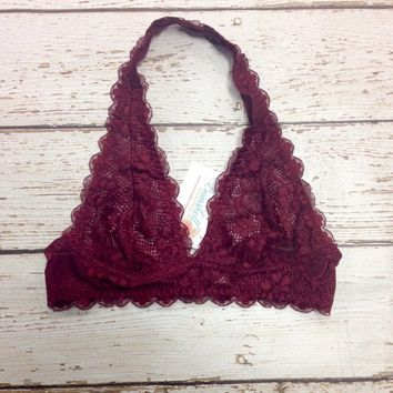 Lace Bralette in Burgundy