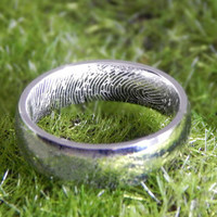 Stainless Steel Actual Fingerprint Engraved Inside of Ring