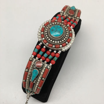 Vintage Nepalese Red Coral & Green turquoise Inlay Statement Bib Bracelet, NPB11