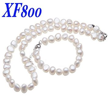 XF800 Fine jewelry Trendy real freshwater pearl jewelry sets  pearl necklace /bracelet  anniversary gift ST23