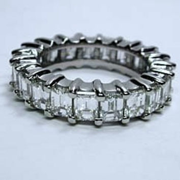 10.08ct Platinum Emerald Cut Diamond Eternity Ring JEWELFORME BLUE