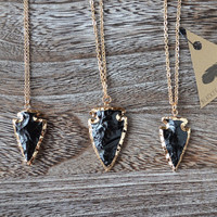 Black Arrowhead Dipped in Gold Necklace