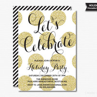 Gold Glitter Dots Holiday Party Invitation Printable Digital Invite Christmas Invitation Christmas Party Black and Gold