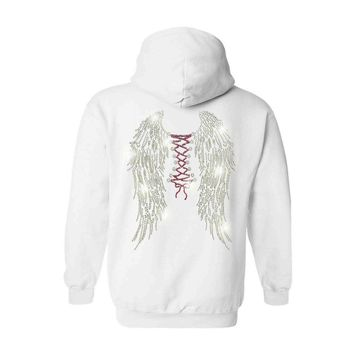 Women's Zip Up Hoodie Rhinestones Angel Wings With Corset