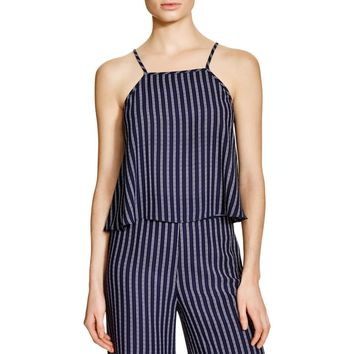 Aqua Womens Striped High neck Tank Top