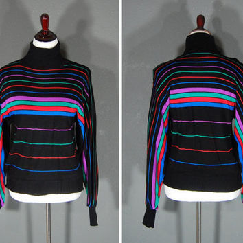 Vintage 80's Sweater / Multicolored Stripes / Size Large / Turtle Neck / 1980's