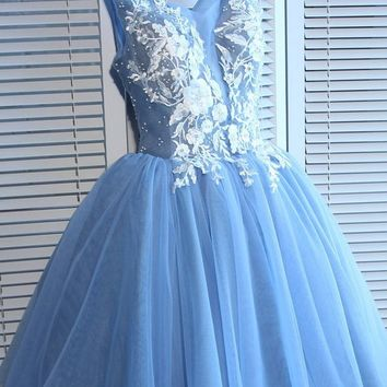 Blue Tulle A Line Lace Appliques Short Homecoming Dresses OKC51