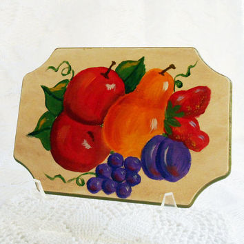 Vintage Wood Plaque, HandPainted Decor, Wall Hanging,Wood Tray, Apples Pears,Fruit Motif,Cottage Chic,Retro Kitsch,1960s 1970s,Kitchen Decor