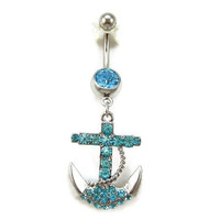 navy series body jewelry anchor Belly button Ring blue silver piercing Accessary 316L medical stainless steel navel ring/nail gift for her