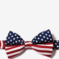 Navy Blue Silk American Flag Pretied Bow Tie | Ties.com - Free Shipping on $45