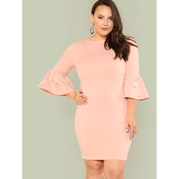 Plus Pearl Detail Flounce Sleeve Pencil Dress Pink
