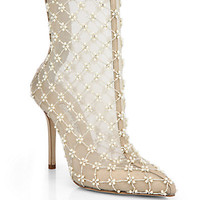 Pearlette Beaded Mesh & Leather Ankle Boots