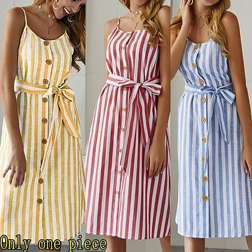 Fashion hot button striped suspended dress