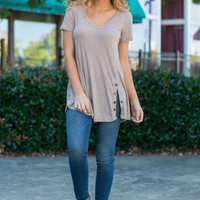Stepping Out Top, Taupe