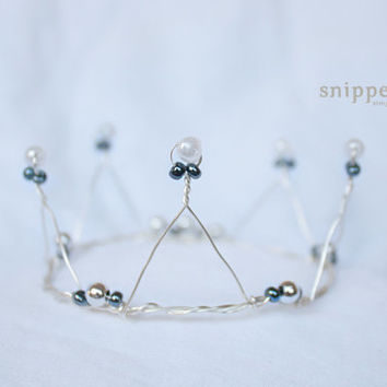 Pristine Beaded Crown - beaded wire newborn crown, newborn photography props