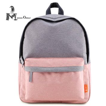 Small pink backpack cute baby pink bag two color contrast women school bag high quality book bag weekend school backpack women
