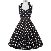 Summer Women Dress Vestidos Retro 1950s 60s Vintage Dress Polka Dots Pinup Rockabilly Plus Size Sexy Halter Short Party Dresses