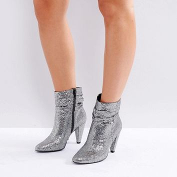New Look Wide Fit Slouch Glitter Ankle Boot at asos.com